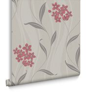 Elise Coral and Grey Wallpaper, , large