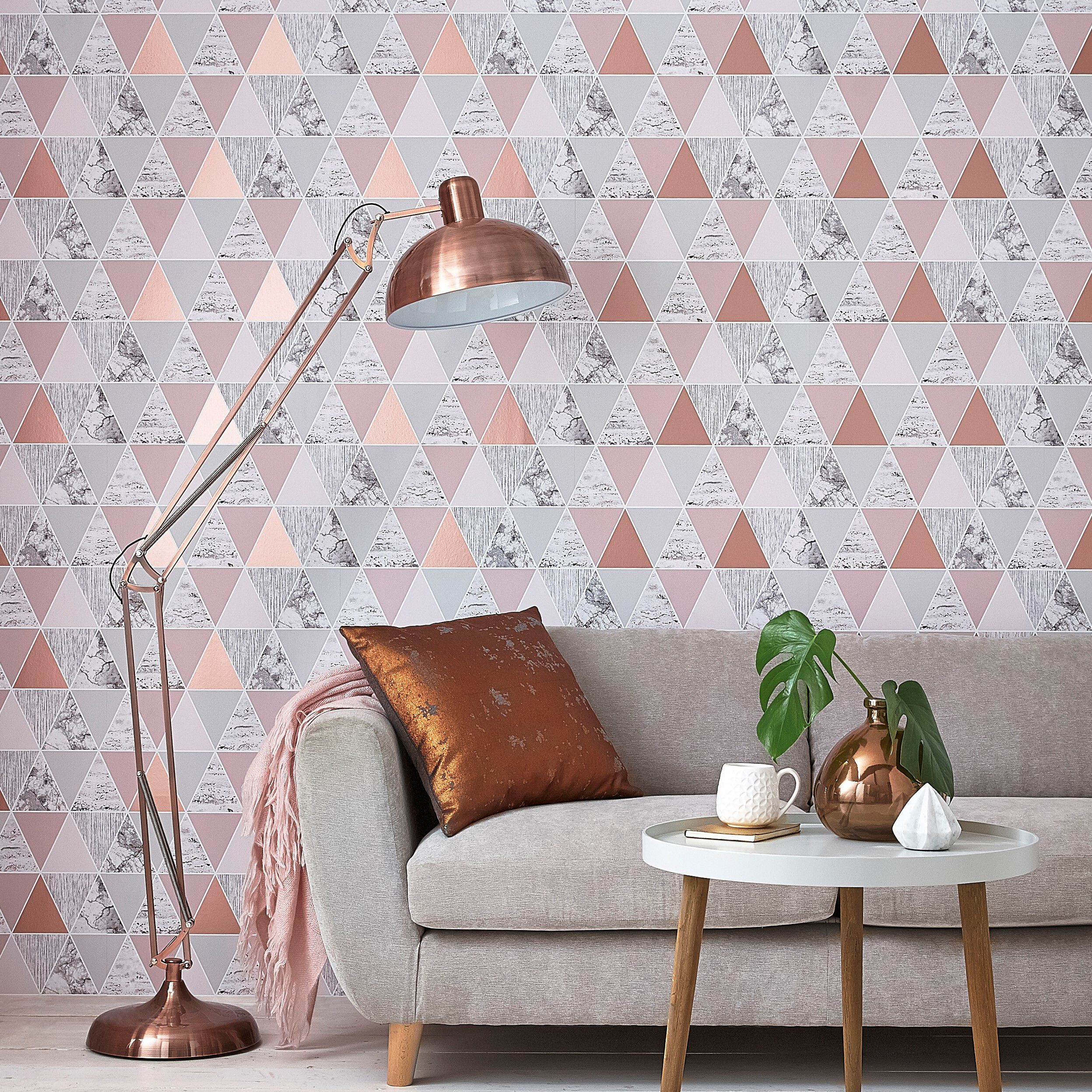 ... Large Rose Gold Reflections Wallpaper, ...