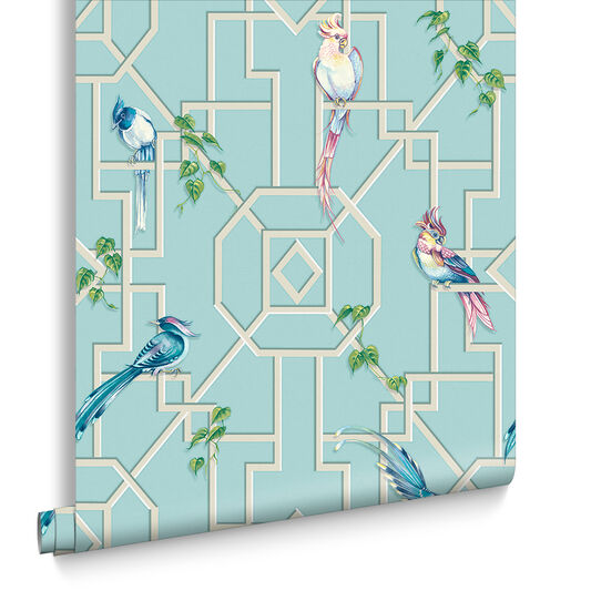 Bird Cage Aqua Wallpaper, , large