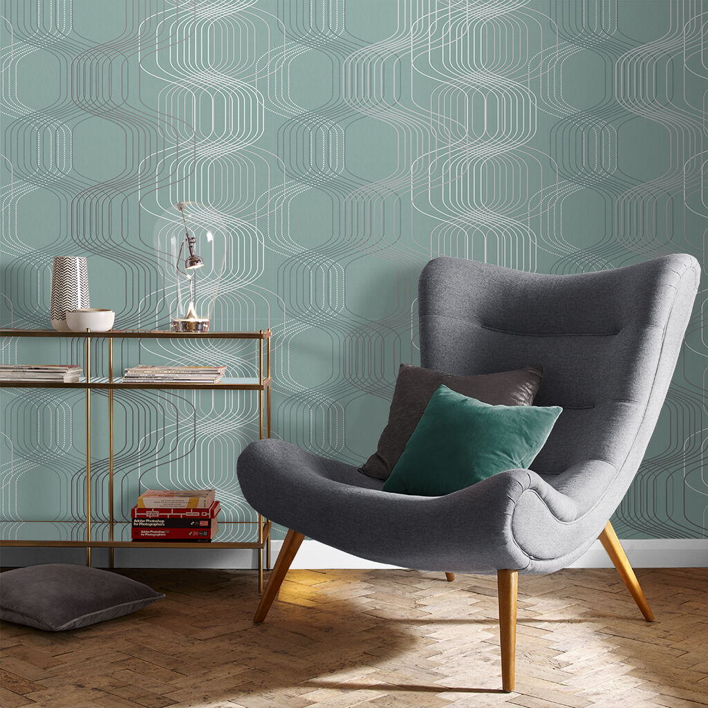 Revival Aqua Wallpaper, , large