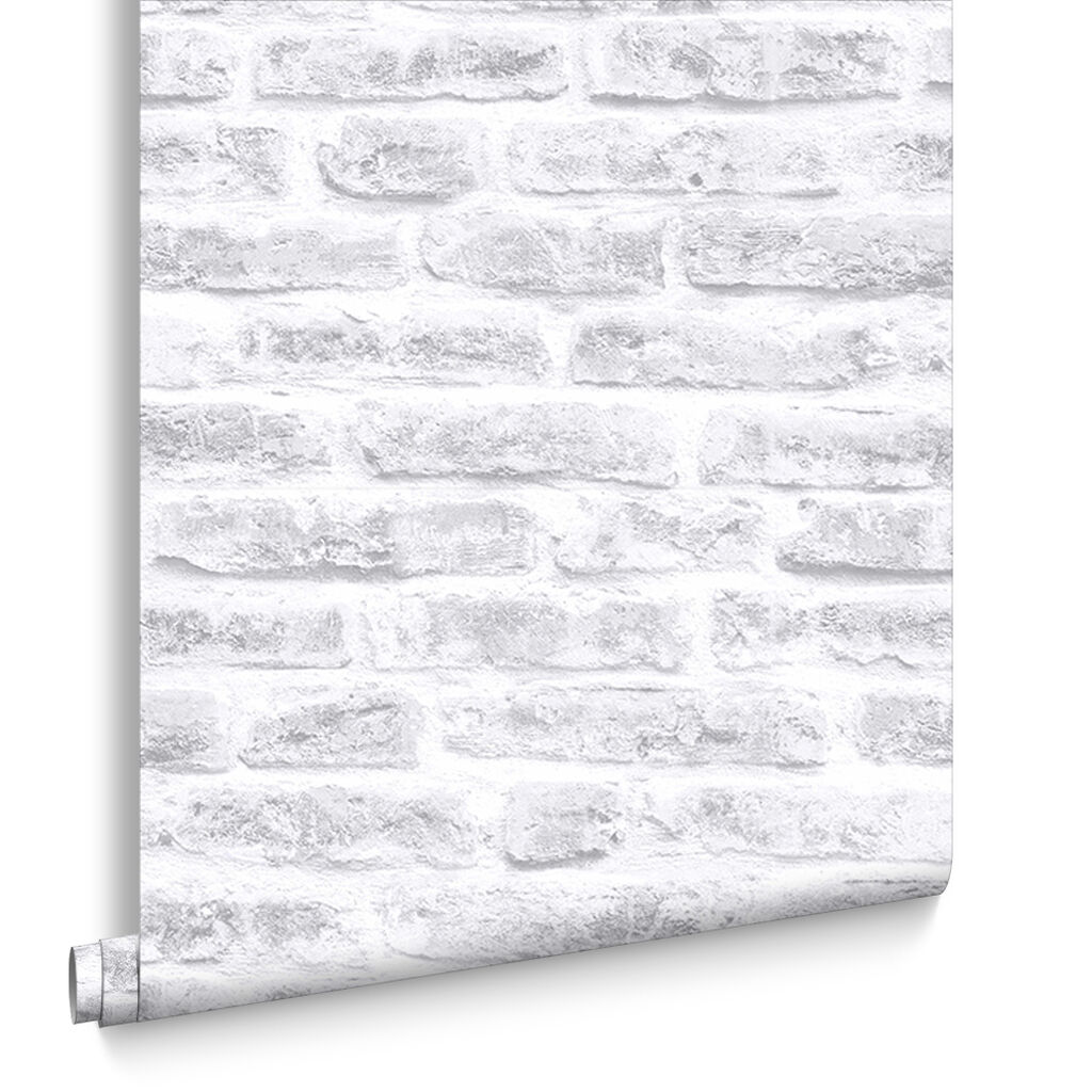 White Realistic Brick Behang, , large
