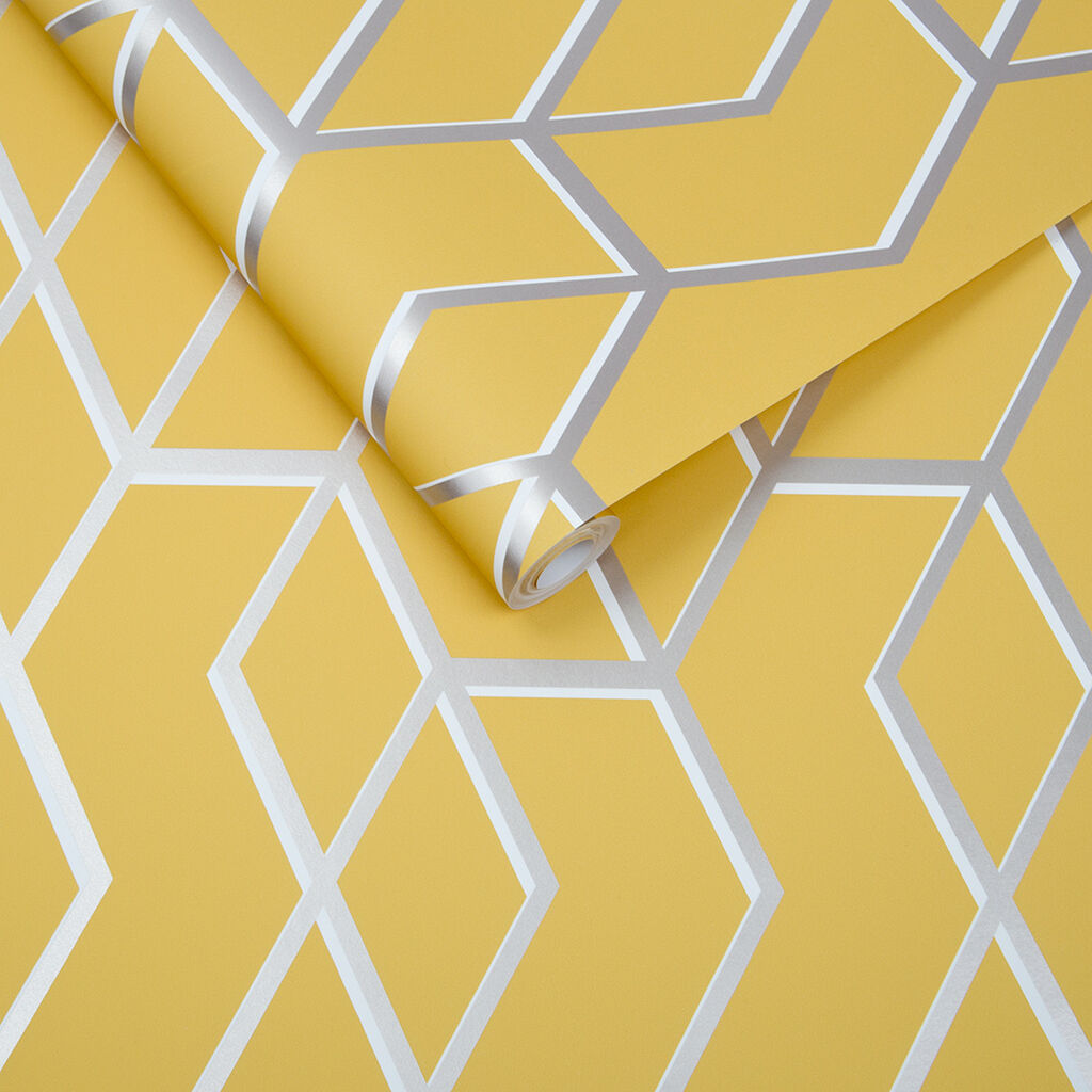 Archetype Yellow & Silver Wallpaper, , large