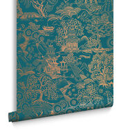 Basuto Teal Behang, , large