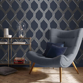 Vector Navy Gold Wallpaper, , large
