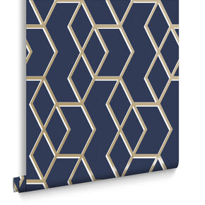 Archetype Navy & Gold Behang, , large