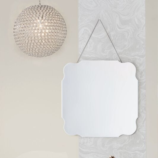 Vintage Bevelled Edge Mirror With Chain Hanging, , large