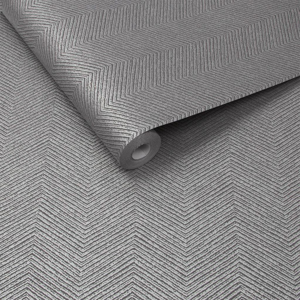 Chevron Texture Silver Behang, , large