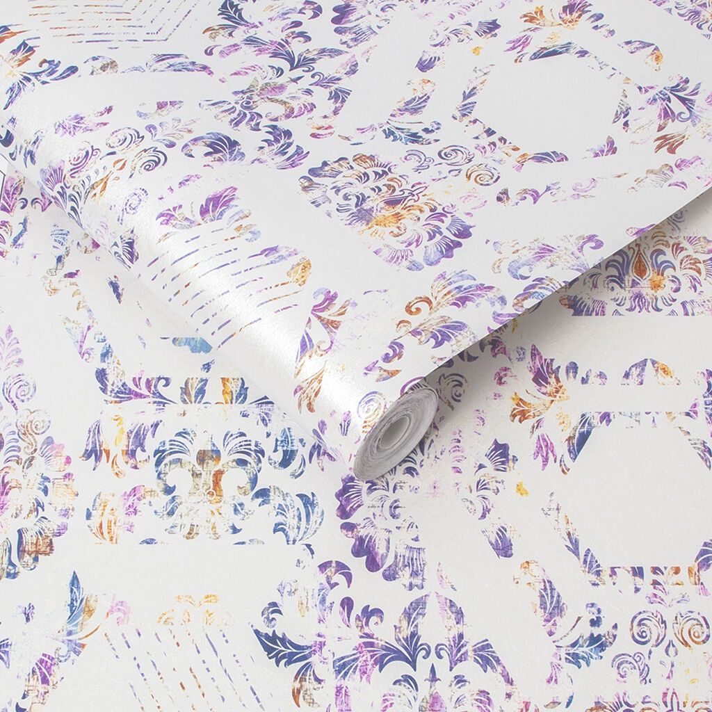 Geo Damask Lilac Behang, , large
