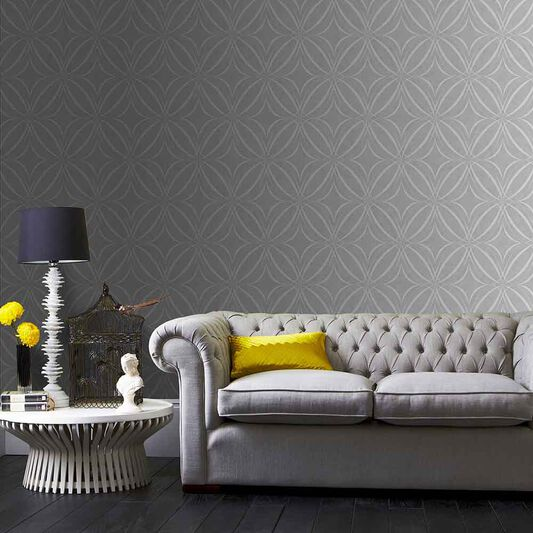 Glitz Geo Gray Wallpaper, , large