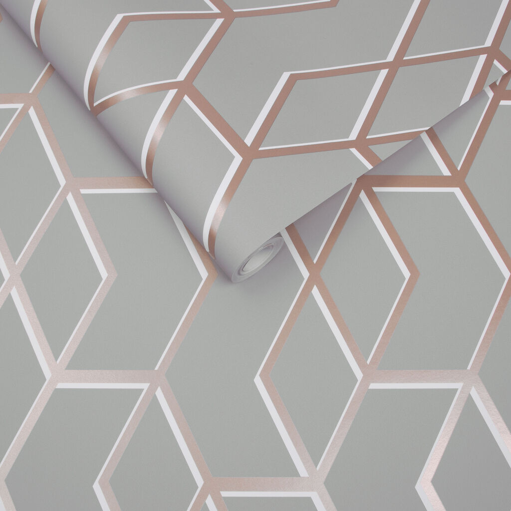 Archetype Gray & Rose Gold Wallpaper , , large