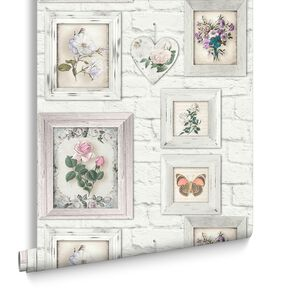 Brick Floral Frames Wallpaper, , large