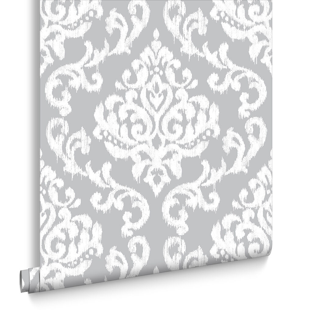 Papier Peint Indian Ink Damask Brume Grise, , large