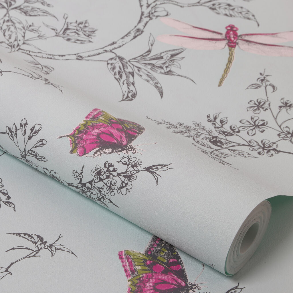 Nature Trail Duck Egg Wallpaper, , large