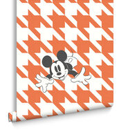 Mickey Houndstooth Orange Wallpaper, , large