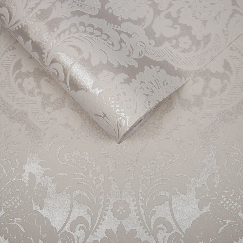 Gothic Damask Flock White Wallpaper, , large