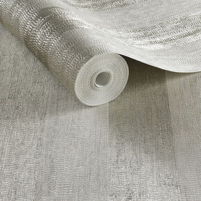 Water Silk Stripe Ivory & Taupe Wallpaper, , large