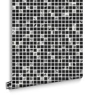 Aroura Tile Black and Silver Wallpaper, , large
