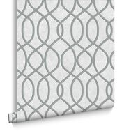 Knightsbridge Flock Pale Grey Behang, , large
