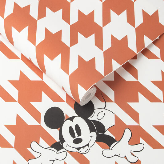 Papier Peint Mickey Houndstooth Orange, , large