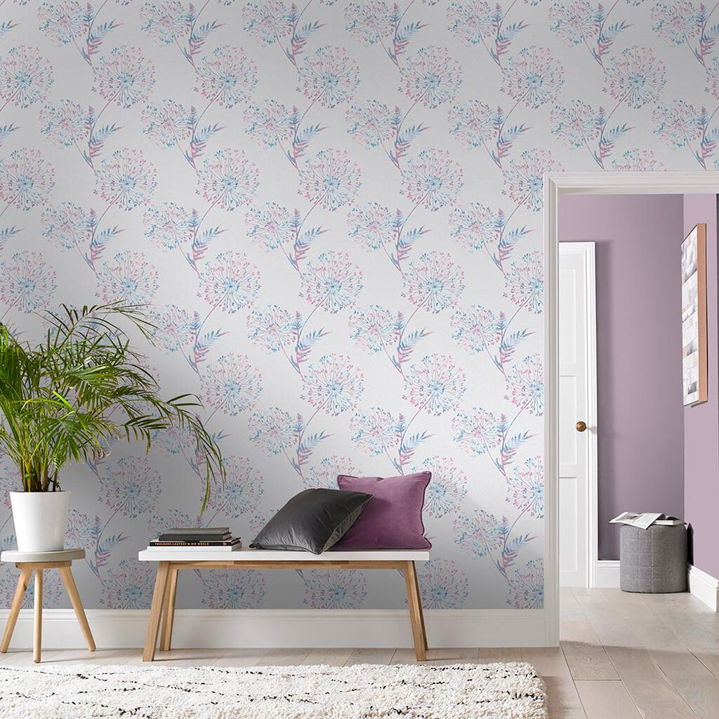 Wish Lilac & Gray Wallpaper, , large