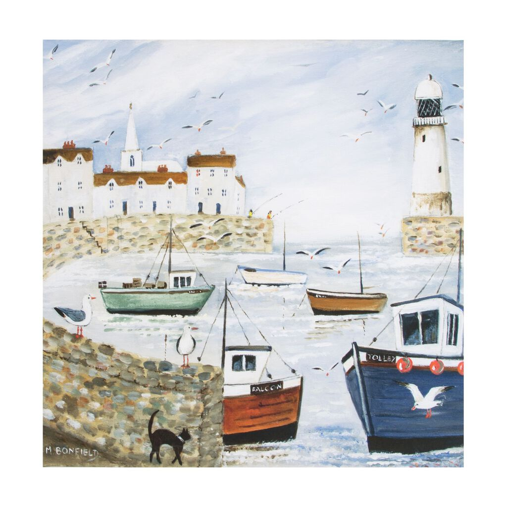 Harbourside Lighthouse Printed Canvas, , large