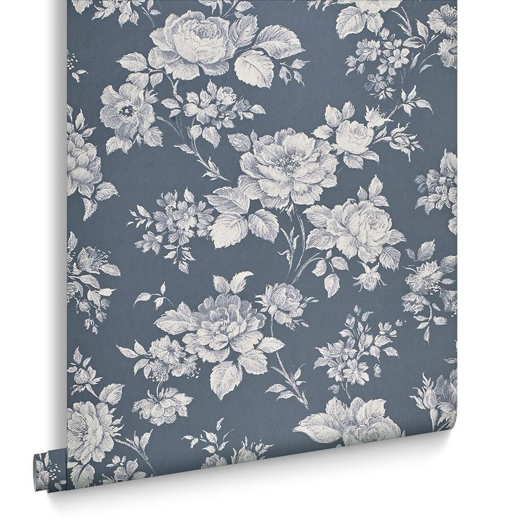 blue floral wallpaper muse bleu wallpaper flower. Black Bedroom Furniture Sets. Home Design Ideas