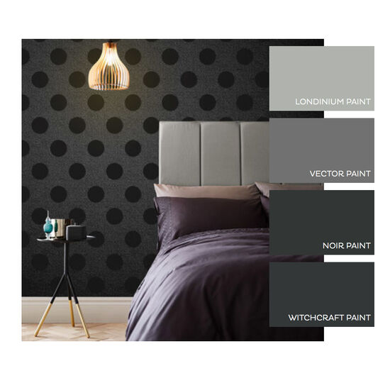 Polka Jet Flock Wallpaper, , large