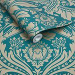 Desire Teal Gold Wallpaper
