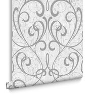 Light Gray & Silver Cork Damask Wallpaper , , large