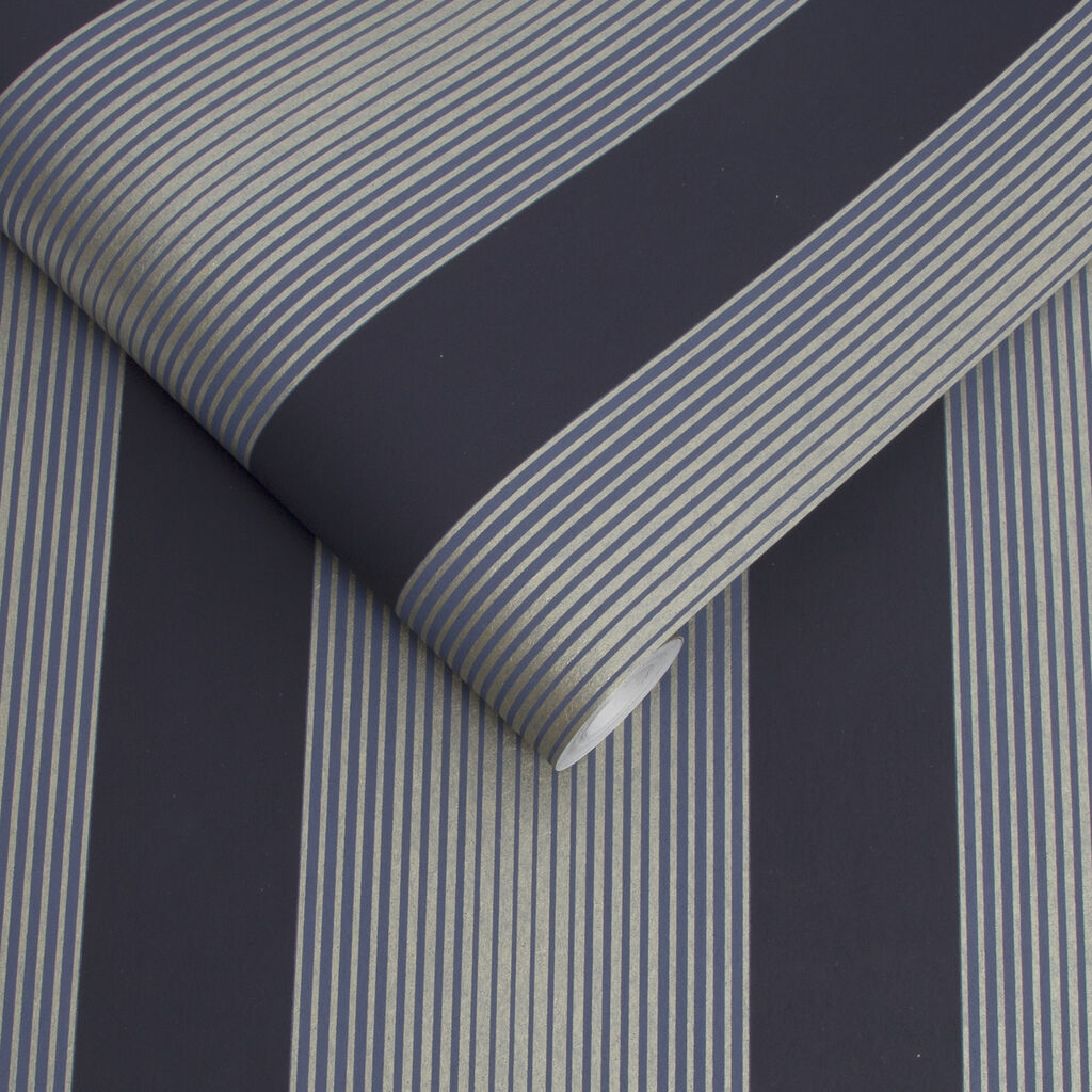 Lagom Stripe Navy & Gold Wallpaper, , large