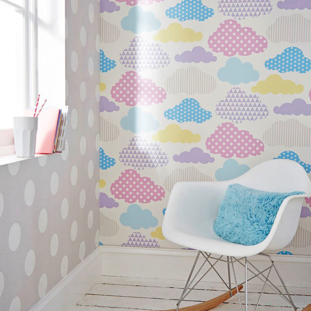 Marshmallow Clouds Wallpaper, , large