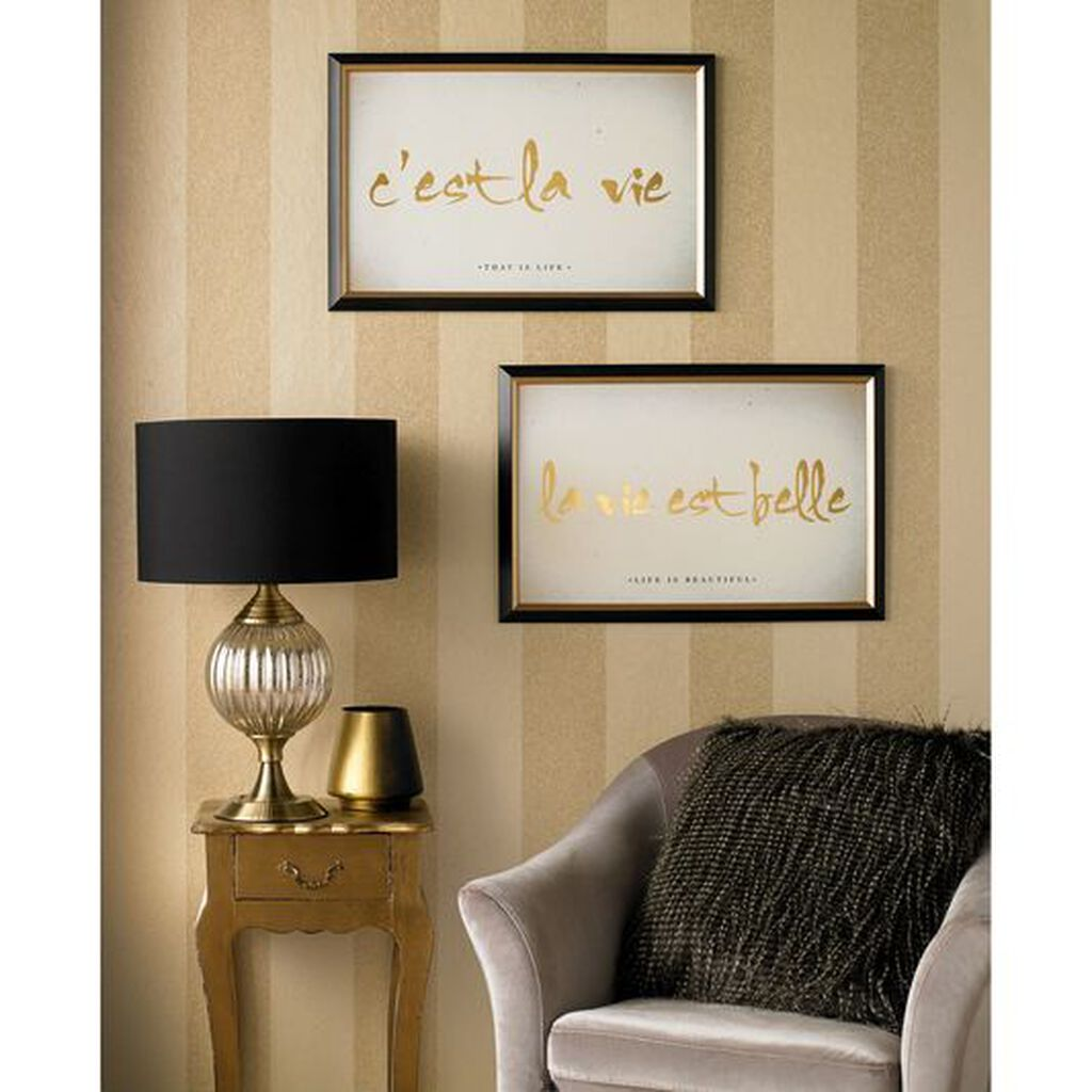 C'est La Vie Metallic Framed Art, , large