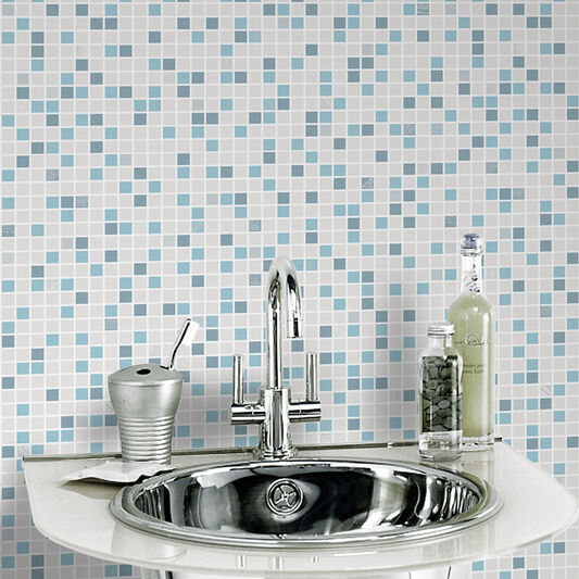 Checker Blue and White Wallpaper, , large