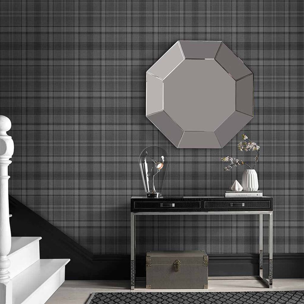 Heritage Plaid Charcoal Wallpaper, , large
