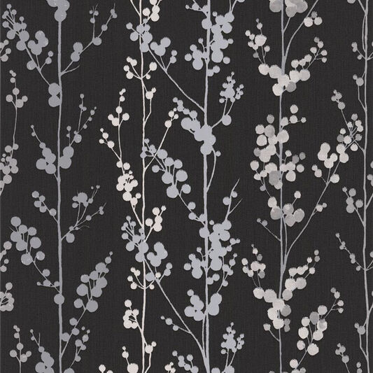 Berries Black and Silver Wallpaper, , large