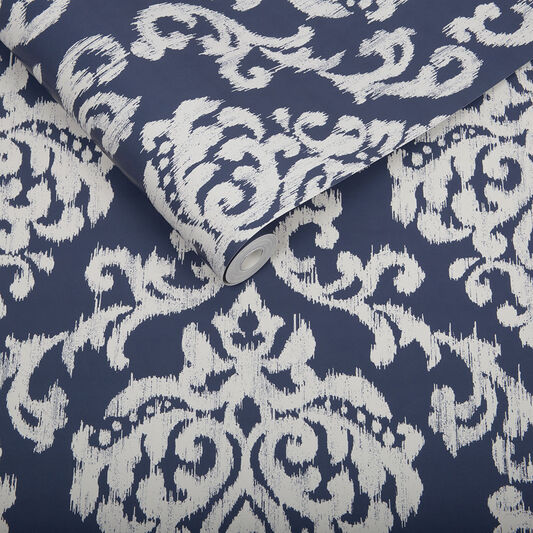 Papier Peint Indian Ink Damask Bleu Roi, , large