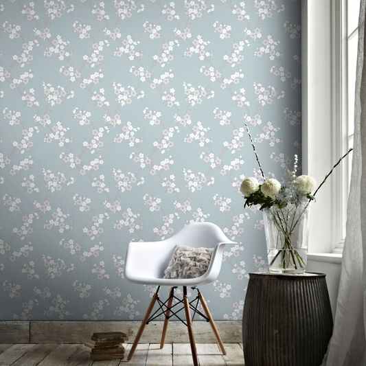 Cherry Blossom Teal Wallpaper, , large