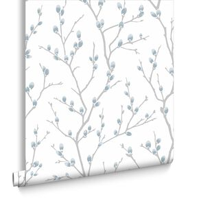 Karma White and Teal Wallpaper, , large