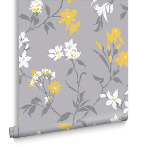 Aeris Grey & Yellow Wallpaper, , large