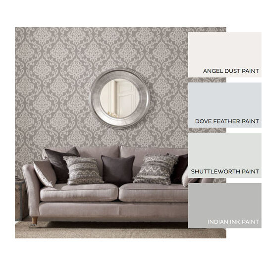 Indian Ink Damask Grey Mist Wallpaper, , large