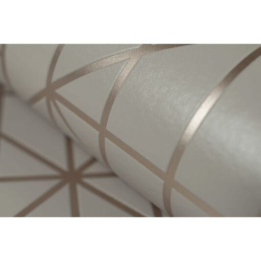 Linear Taupe and Rose Gold Wallpaper, , large