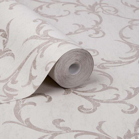 Empress Scroll Rose Gold Wallpaper, , large