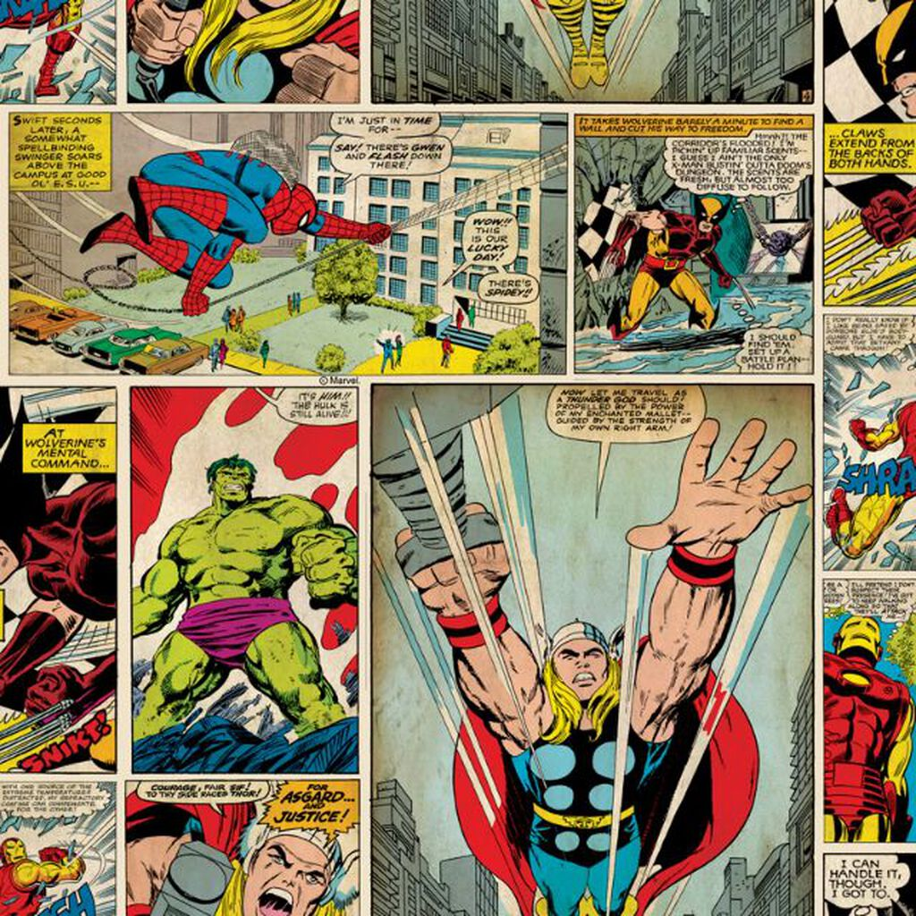 marvel comic strip wallpaper graham brown. Black Bedroom Furniture Sets. Home Design Ideas