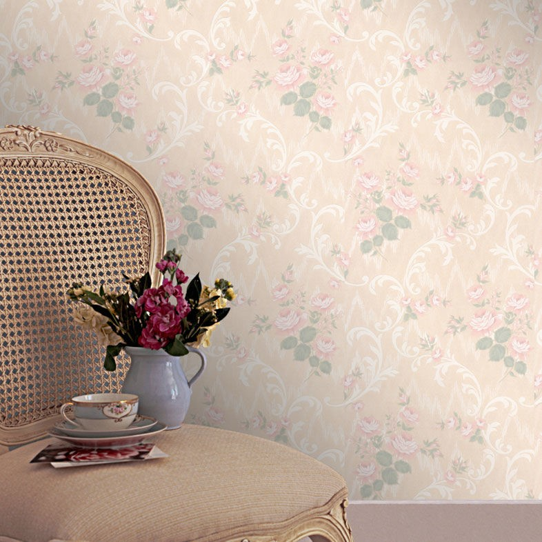French-inspired room with vintage wallpaper