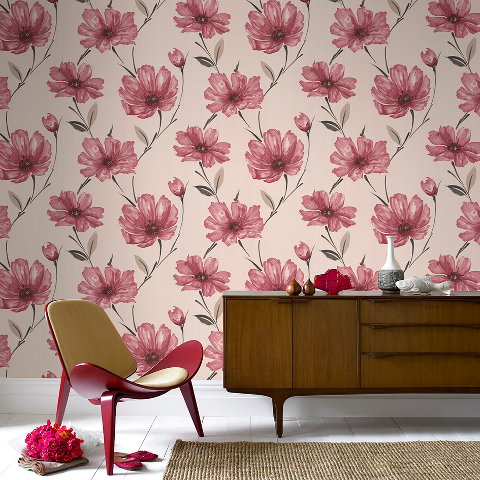 5 red wallpapers to liven up your living room