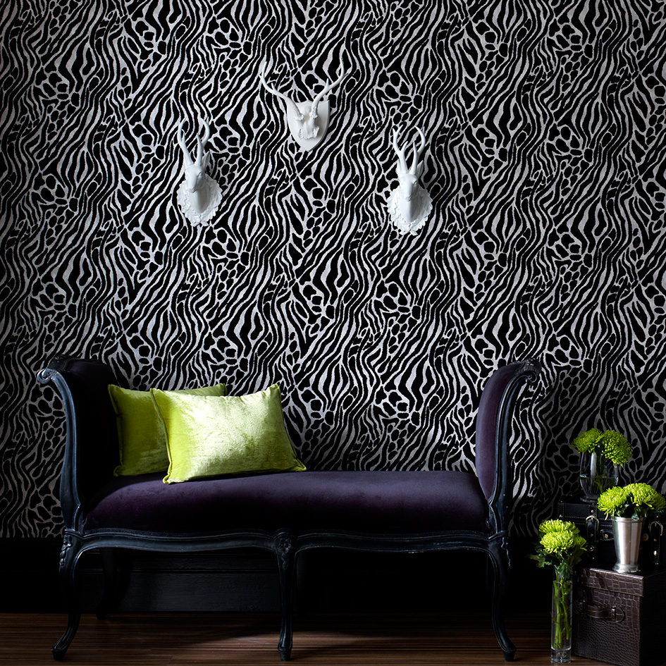 ... Julien Macdonald Takes A Classic Animal Print And Gives It A Modern  Twist In Black And White, For A Zebra Effect Designer Wallpaper That Will  Look ...