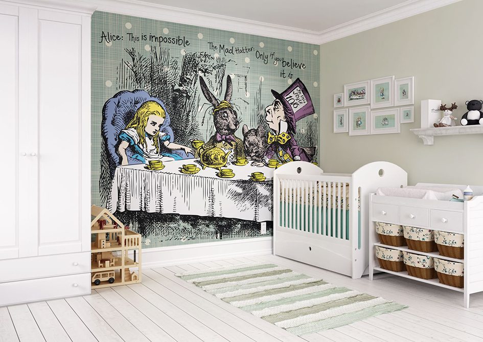How to hang a digital wall mural for Alice in wonderland wallpaper mural
