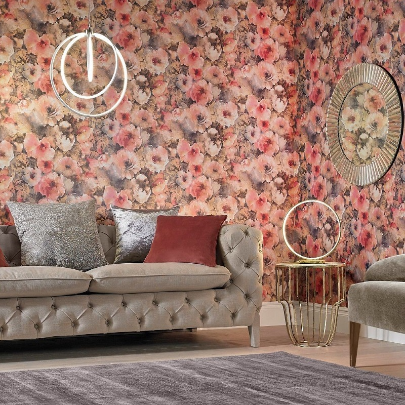 With Bright Explosions Of Pink And Orange Contrasted Against Hints Black Charcoal Our Boheme Blossom Wallpaper Is Vibrant Eye Catching