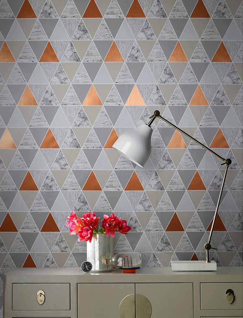 The geometric style perfectly suits the modern trend for minimalist, abstract interior design.