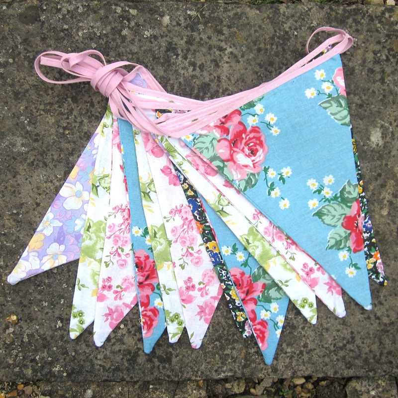 Making bunting with wallpaper